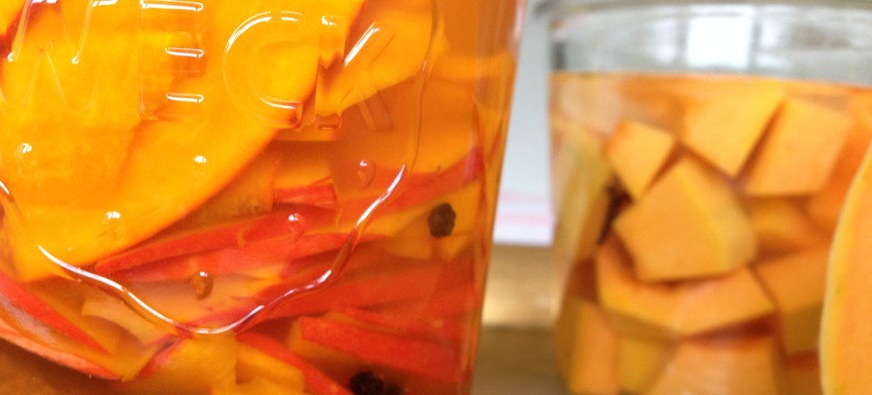 Hokaido und Butternut Kürbis fermentiert.